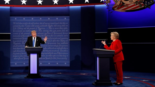 Donald Trump og Hillary Clinton under den første tv-debat.