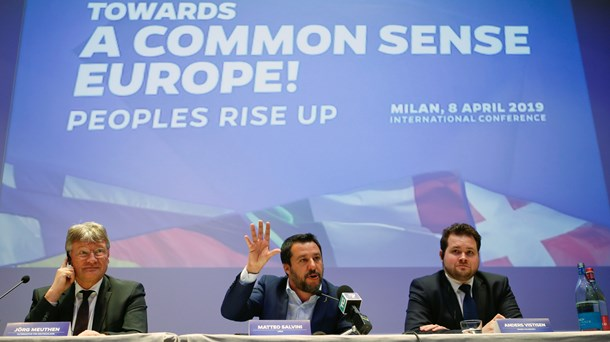 Jörg Meuthen, Mateo Salvini og Anders Vistisen ved lanceringen af European Alliance for People and Nations i april.